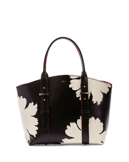 Alexander McQueen Legend Small Shopper Bag, Black/White