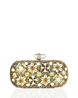Marchesa Lily Enamel & Crystal Embroidered Clutch Bag, Ivory Multi
