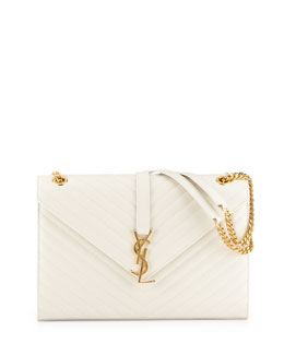 Saint Laurent Monogramme Matellase Shoulder Bag, White