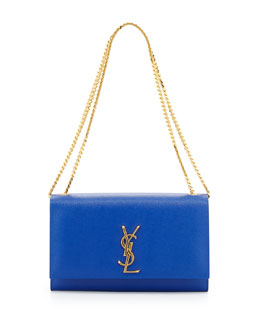 Saint Laurent Monogramme Medium Chain Shoulder Bag, Blue