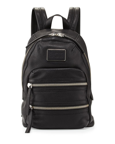 Domo Biker Leather Backpack, Black