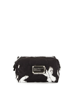 MARC by Marc Jacobs Pretty Nylon Painted Flower Cosmetics Bag, Black/White