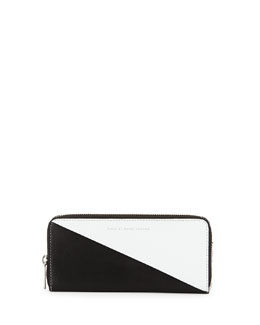 MARC by Marc Jacobs Sophisticato Sliced Slim-Zip Wallet, White/Black
