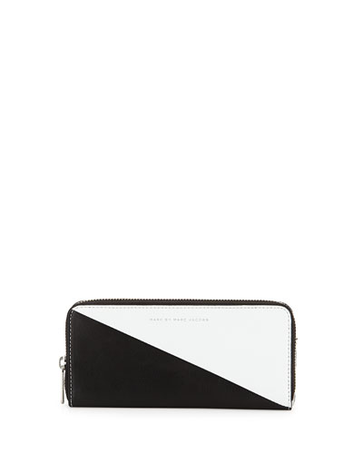 Sophisticato Sliced Slim-Zip Wallet, White/Black