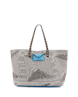 MARC by Marc Jacobs Metropolitote Optical-Stripe-Print Tote Bag, Black Multi