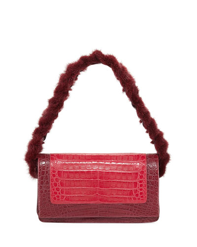 Mink Fur & Crocodile Shoulder Bag