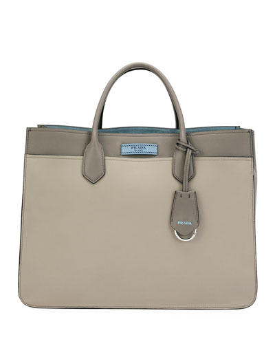 Large Prada Dual Tote, Light Gray