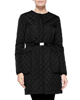 Moncler Bonnaire Mid-Length Diamond-Quilted Coat, Black