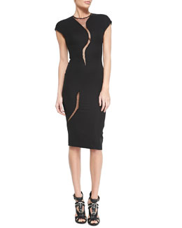 Victoria Beckham Sheer-Insert Cap-Sleeve Sheath Dress
