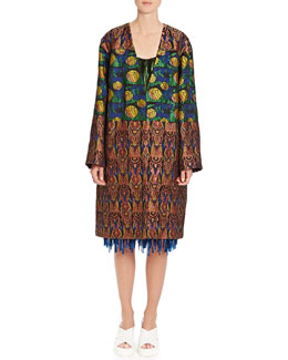 Dries van Noten Mixed-Jacquard Oversized Coat