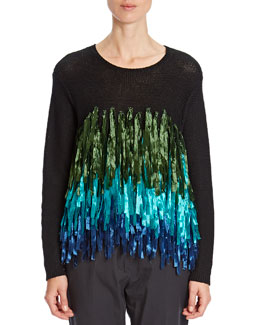 Dries van Noten Tiered Ribbon-Fringe Sweater, Green/Turquoise/Blue