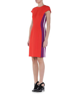 Fendi Cap-Sleeve Contrast-Striped Sheath Dress