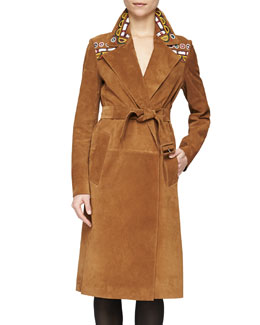 Burberry Prorsum Embroidered Suede Wrap Trench Coat, Sepia Brown