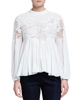 Chloe Floral-Embroidered Pleated Blouse
