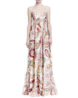 Paisley-Print Side-Tie Maxi Dress