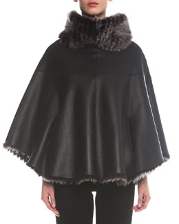 Giorgio Armani Reversible Shearling Fur & Lambskin Leather Poncho