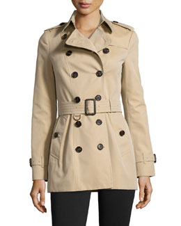 Burberry Sandringham Short Woven Trenchcoat, Honey