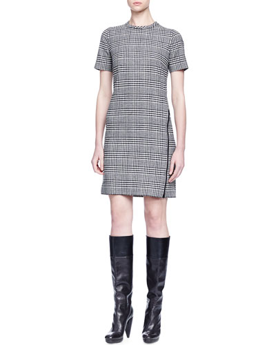 Wrap-Around-Zip Glen Plaid Dress