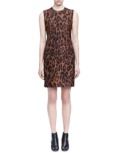 Leopard-Print Yoked Sheath Dress