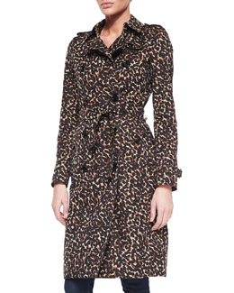 Burberry Leopard-Print Mid-Length Trenchcoat