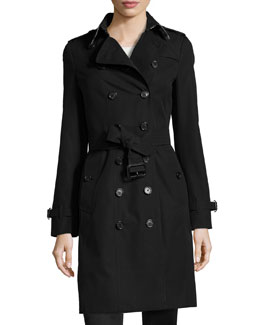 Burberry Sandringham Long Slim Trenchcoat, Black