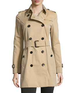 Burberry Kensington Mid Modern-Fit Woven Trench Coat, Honey