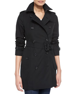 Burberry Kensington Mid Modern-Fit Long Woven Trenchcoat, Black
