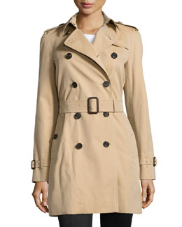 Burberry Westminster Mid-Length Classic Trenchcoat, Honey