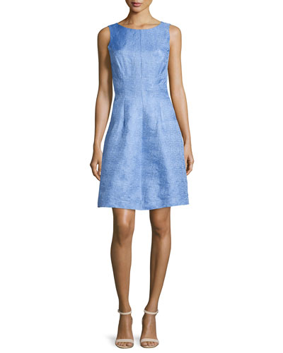 Sleeveless Houndstooth Jacquard A-Line Dress, Periwinkle