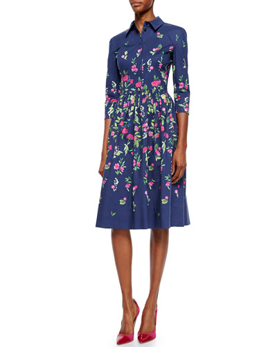 Three-Quarter-Sleeve Floral-Print Shirtdress
