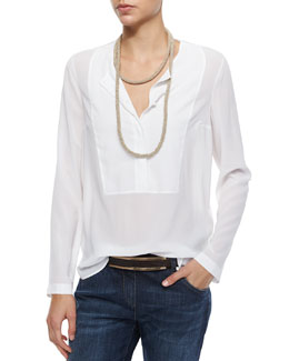 Brunello Cucinelli Long-Sleeve Georgette Henley Blouse