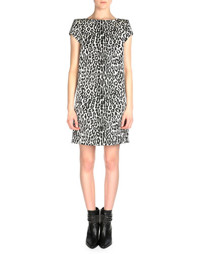 Cap-Sleeve Leopard-Print Shift Dress