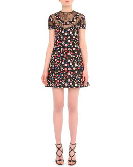 Valentino Lace-Inset Floral-Print Babydoll Dress