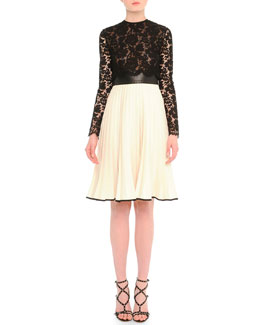 Valentino Sheer Lace Plisse Fit-And-Flare Dress