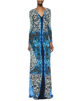 Roberto Cavalli Long-Sleeve Mixed-Print Gown