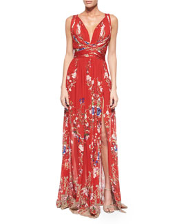 Roberto Cavalli Floral-Print Crisscross Gathered Gown