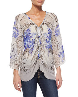 Roberto Cavalli Floral-Print Ruched Blouse