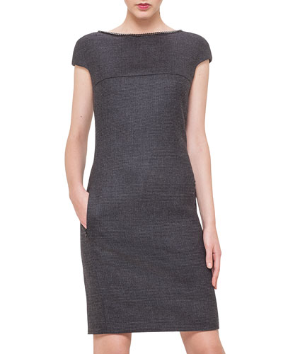 Glen Plaid Curb Chain-Trimmed Dress