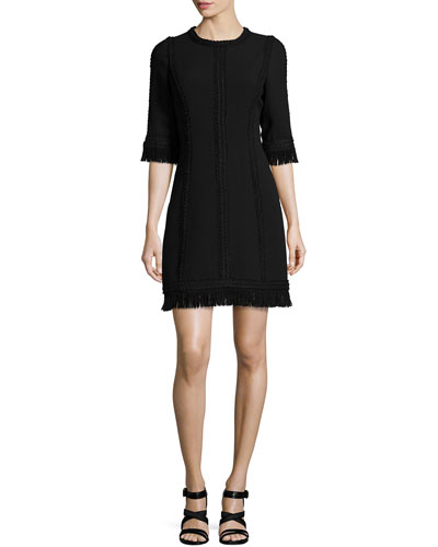 Fringed Half-Sleeve Wool Dress, Black