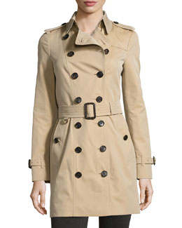 Burberry Sandringham Mid-Length Woven Trenchcoat, Honey