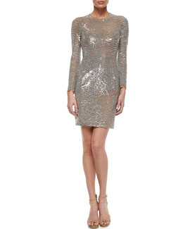 Wave-Beaded Tulle Sheath Dress