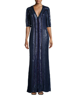 Sequined V-Neck Half-Sleeve Gown, Blue