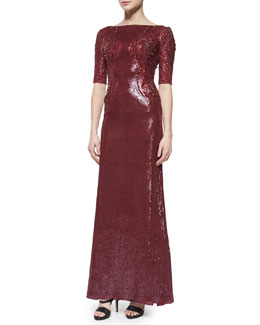 Jenny Packham Allover Sequin & Bead Embellished Gown