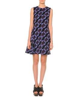 Geometric-Print Flared Dress