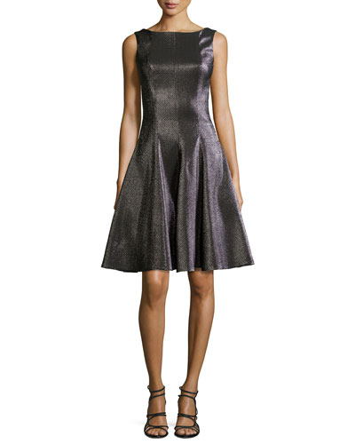 Doha Glazed Check-Textured Pleated Dress