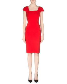 Roland Mouret Jeddler Tuck-Pleated Crepe Sheath Dress