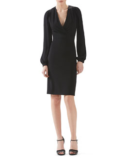 Gucci Stretch Viscose Jersey And Silk V-Neck Dress