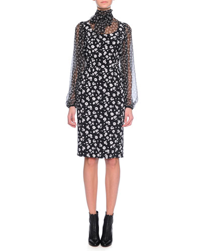 Bell-Sleeve Floral-Print Blouson Combo Dress