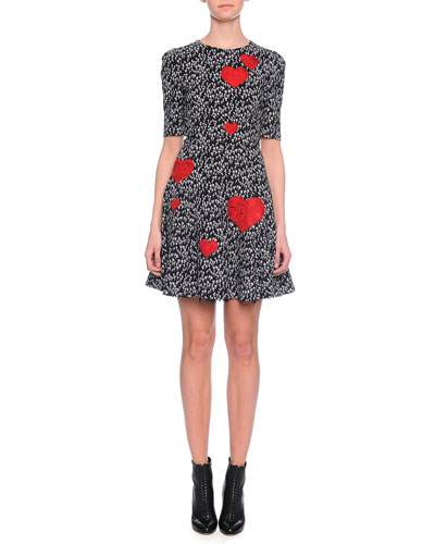 Heart Applique Fit-And-Flare Dress