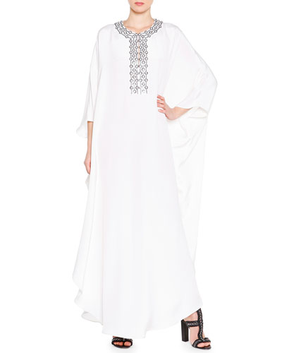 Embroidered Neckline Silk Caftan